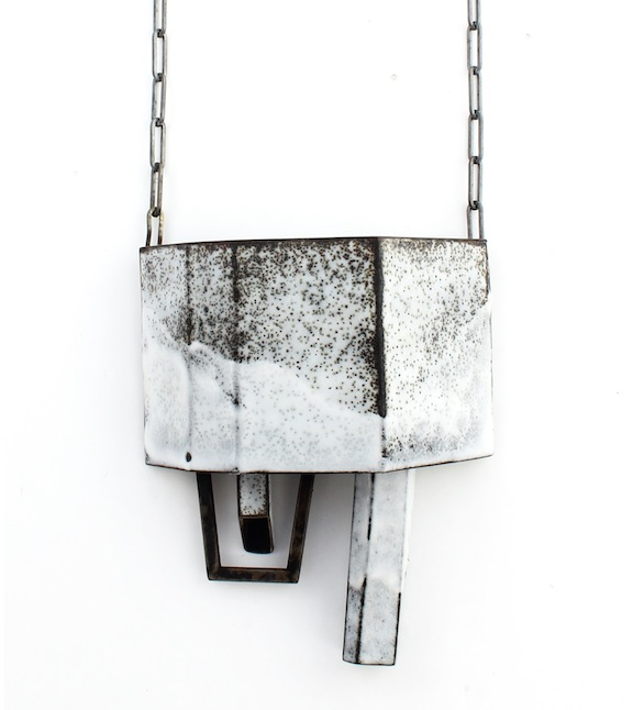 Cole - White Structure Pendant with Dangles Detail