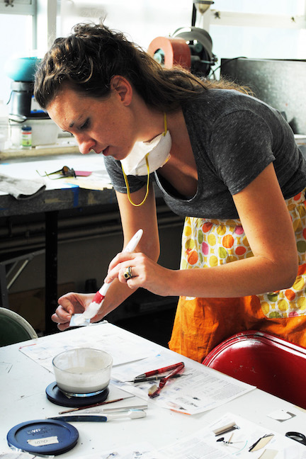 Kat Cole applying liquid enamel_1