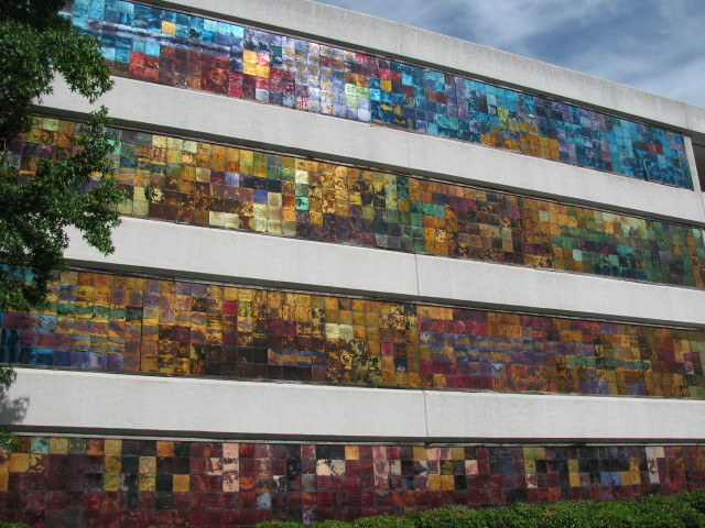 Fred Ball's The Way Home on side of Macy's parking garage Sacramento